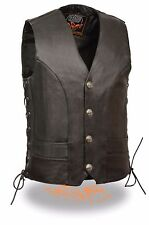 Mens Black Leather Vest with Buffalo Nickel Snaps & Gun Pocket, Side Laces