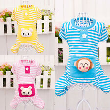 Small Pet Dog Cotton Stripes Pajamas Jumpsuits Coat Clothes Apparel Clothing
