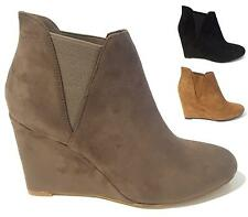 WOMENS LADIES MID HIGH HEEL WEDGE ANKLE LOW CHELSEA BOOTS SHOES SIZE