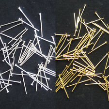 200PCS Silver / Gold Plated Head Pins 16mm Findings Craft Beading Metal Flat QBA