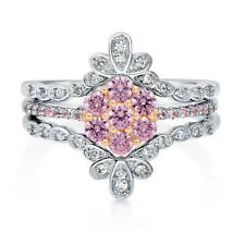 BERRICLE Sterling Silver Pink CZ Flower Fashion Right Hand Cocktail Ring Set
