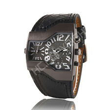 OULM Army Military Sports Dual Time Zones Movements Leather Strap Boy Mens Watch