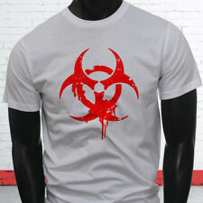 Radiation Gas Chemical Danger Halloween Scary Red Biohazard Mens White T-Shirt