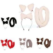 Faux Fur Fox Cat Cosplay Costume Ear Hairband Clip Tail Holiday Party Costume