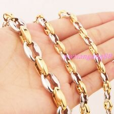 """16~40"""" 6/8/11mm Strong Silver Gold Beads Chain 316L Stainless Steel Men Necklace"""