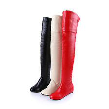 Ladies' Shoes Synthetic Leather Wedge Med Heels Zip Over Knee Boots AU Size b319