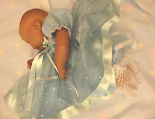DREAM BABY BLUE ROMANY DRESS FRILLY PANTS NB UP TO 12  MONTHS OR REBORN DOLLS