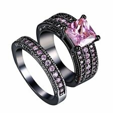 2pcs New Black Gold Women Pink Sapphire Band Rings Set Wedding Bridal Engagement