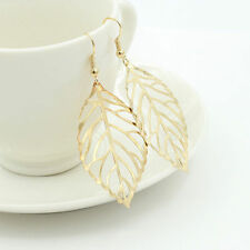 Women Lady Vintage Leaves Gold Silver Earrings Ear Stud Dangle Hook Jewelry Gift
