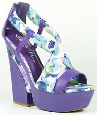 Purple Blue Floral Criss Cross Strappy Open Toe High Chunky Heel Platform Sandal
