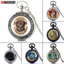 Vintage Harry Potter Pocket Watch Quartz Necklace Pendant Chain Steampunk Gift