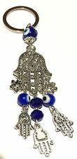 Evil Eye Key Ring or Car Charm big Hamsa with smaller hanging Hamsas & evil eye
