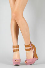 Blush Pink Brown Two Tone Faux Suede Strappy Peep Toe Ankle Strap Platform Wedge