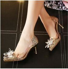 Women Shoes Shiny Pointed Toe Sequin Crystal High Heels Chic Wedding Party Pumps