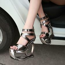 Womens Unique High Heels Strappy Heart Shape Shoes Open Toe Heels Party Sandals