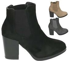 WOMENS CHELSEA ELASTICATED BLOCK HEEL LADIES SLIP ON ANKLE BOOTS SHOES SIZE 3-8
