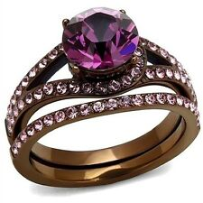 Womens Engagement Wedding Rings Chocolate Plated Stainless Steel Ring SZ 5 - 10