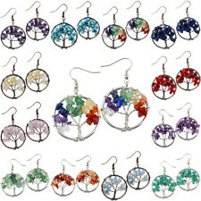 Tree of Life Tumbled Stone Crystal Chips Beads Healing Dangle Drop Hook Earrings