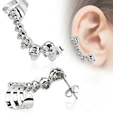 1Pair Punk Skull Ear Clip Gothic Ear Bone Cuff Wrap Stud Earrings Halloween Gift
