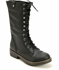 New Womens Black Madden Girl Motorrr Tall Lace Up Combat Boots