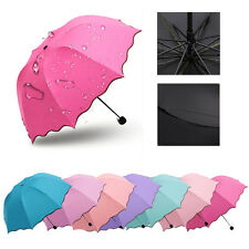 Fashion Women Lady Magic Flowers Dome Parasol Sun/Rain Folding Anti-UV Umbrella