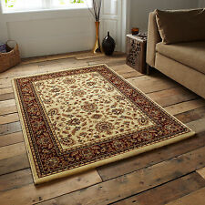 LARGE SMALL 14mm RED CREAM CLASSIC TRADITIONAL ORIENTAL PERSIAN QUALITY RUG MAT