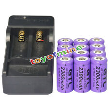 12pcs CR123A 3.7V 2300mAh 16340 123A GTL Rechargeable Battery Cell + Charger