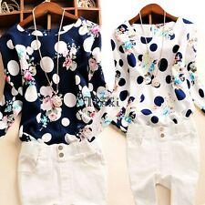 Women Lady Polka Dot Floral Casual Office  Long Sleeve O-Neck Top Blouse TXCL