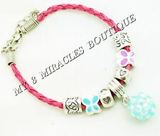 Girls Pink Braided Leather Charm Bracelet Butterflies BLING Pastel Birthday Gift