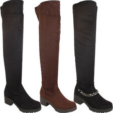 LADIES WOMENS FLAT OVER THE KNEE HIGH ZIP WINTER STRETCH RIDING THIGH HIGH BOOTS