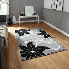 GREY BLACK LARGE SMALL FLORAL HAND CARVED RUG THICK MODERN VERONA RUG MAT RUNNER