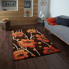 BROWN TERRACOTTA SMALL LARGE FLORAL FLOWERS CARVED RUG 12mm MODERN RUNNER RUGS
