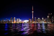 Toronto Canada Cityscape at Night Large Canvas Picture Wall Art