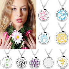 Aromatherapy Diffuser Locket Pendant Necklace Fragrance Essential Oils 30mm