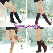Womens Lady Winter Warm Lace Mid-Calf Cuff Slouch Boots Hidden Wedge Heel Shoes