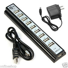 10 Port Hi-Speed USB 2.0 Hub + Power Adapter for PC Laptop Computer 480 Mbps HOT