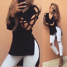 Fashion Womens Loose Pullover T Shirt Long Sleeve Cotton Tops Shirt Blouse New