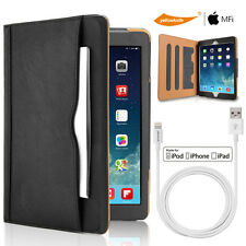 [+MFi 6FT Lightning Cable]Slim Folio Magnetic Leather Wallet Stand Case iPad Pro