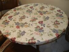 "Round Vinyl Fitted Tablecloth 39-44"" Bistro Patio Kids table  Various Designs"