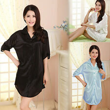1Pc Sexy Womens Silky Loose Pajamas Dress Polyester Soft Nightdress Long Sleeve