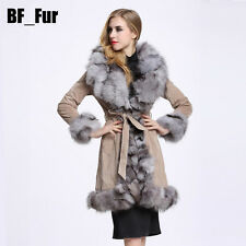 Winter Lady Genuine Big Fox Fur Collar Coat Outwear Lining Leather Jacket C0104