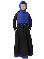 MyBatua Simah Black and Royal Blue Kids Stylish Long Gown Abaya Dress AY-326-K