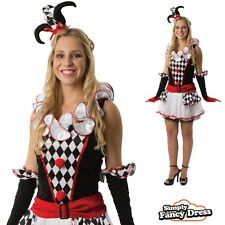 Ladies Sexy Harlequin Jester Circus Clown Short Fancy Dress Costume