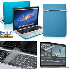 [4 in 1]Sky Blue Hard Case&Bag w/Keyboard&Film Macbook Pro w/Retina 13inch/13.3""
