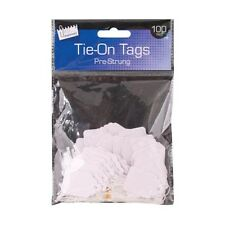 100 Pre Strung Tags 25x39mm Quality Tie On Tags/White Labels/Jewellery Tags