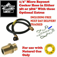 "MICRO BAYONET COOKER HOSE GAS OVEN 3FT 3FT6"" CHAIN STRAIGHT SOCKET NATURAL GAS"