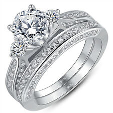 Sterling Silver 1.25 ct Round CZ Women's Wedding Engagement Bridal Ring Set