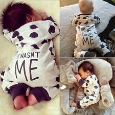 Newborn Infant Baby Boy Girl Kids Button Romper Jumpsuit Bodysuit Clothes Outfit