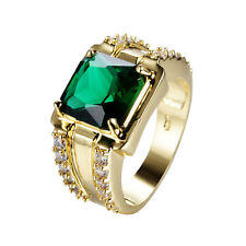 Princess Cut Green Emerald Wedding Ring 10KT Yellow Gold Filled Jewelry Size6-12