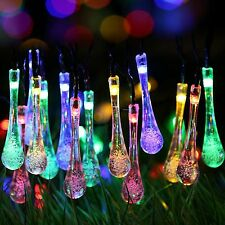 30 LED Drops of water Solar Fairy Lights String Waterproof Decor Outdoor Party